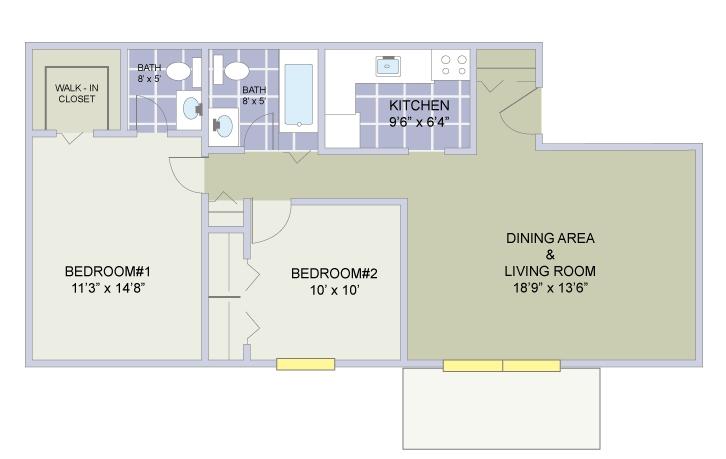 2 Bedroom (c) / 1.5 Bathrooms