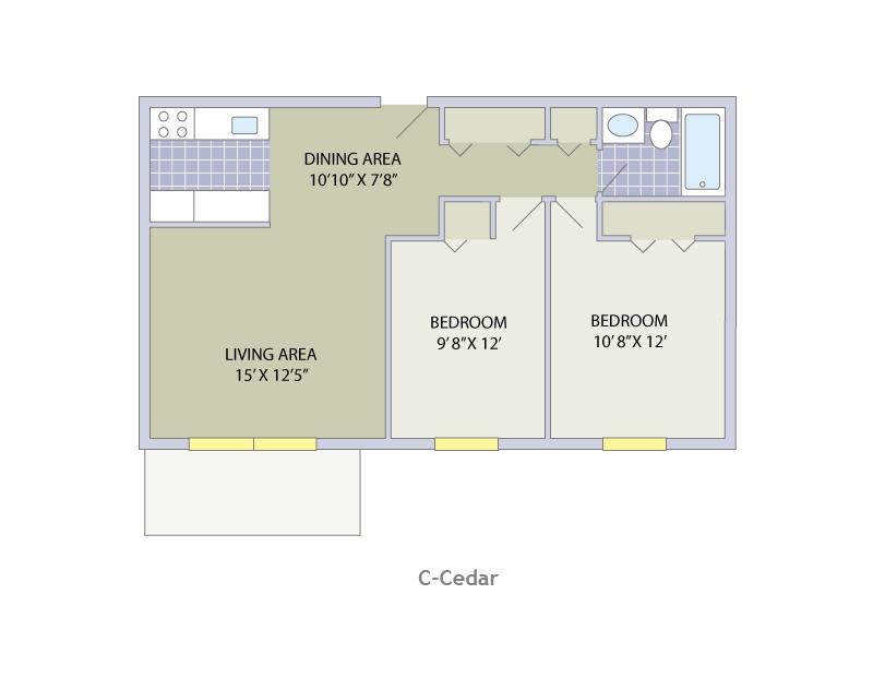 2 Bedroom (a) / 1 Bathroom