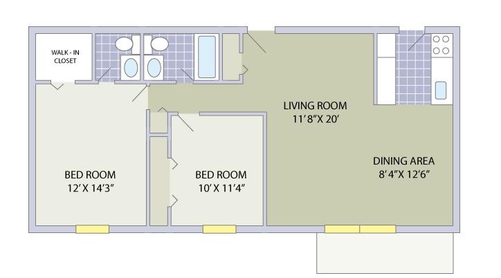 2 Bedroom / 1.5 Bathroom