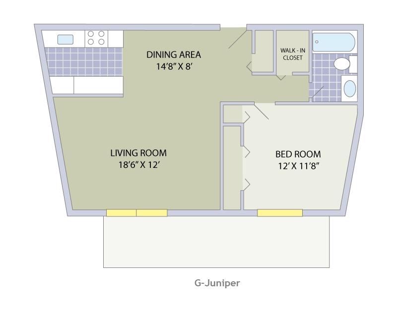 1 Bedroom (B) | 1 Bathroom